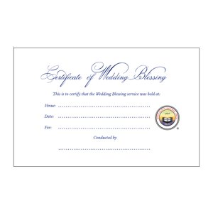 Certificate of Wedding Blessing